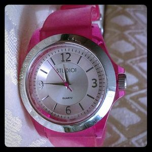 Pink watch with silver tone.-gently used